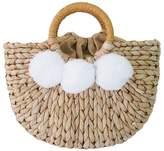 'Harper' Rattan Pom Pom Half Moon Bag