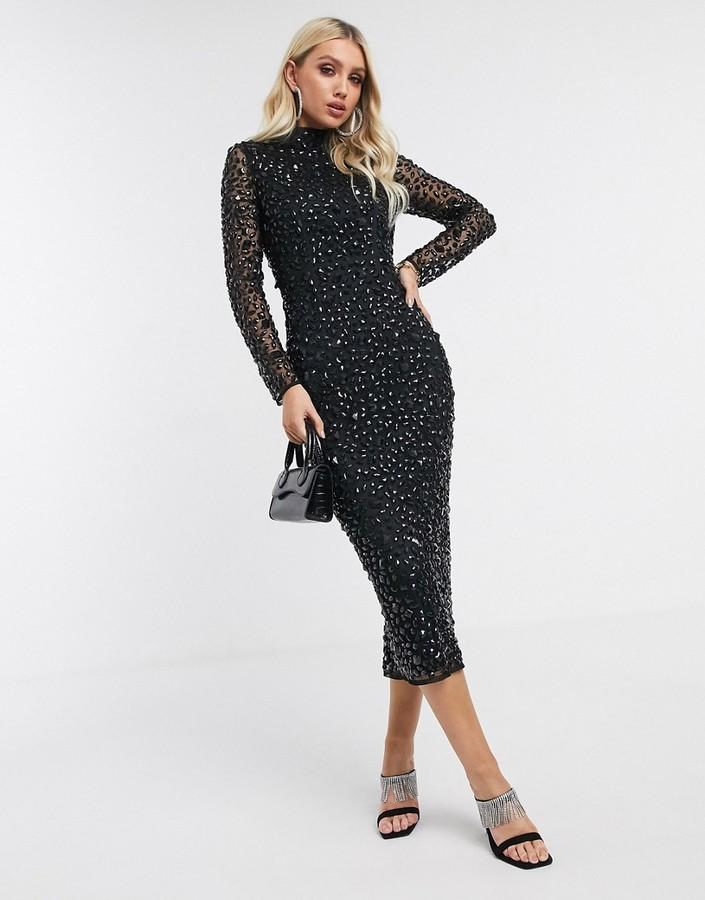 Asos Design ASOS DESIGN all over gem embellished midi dress