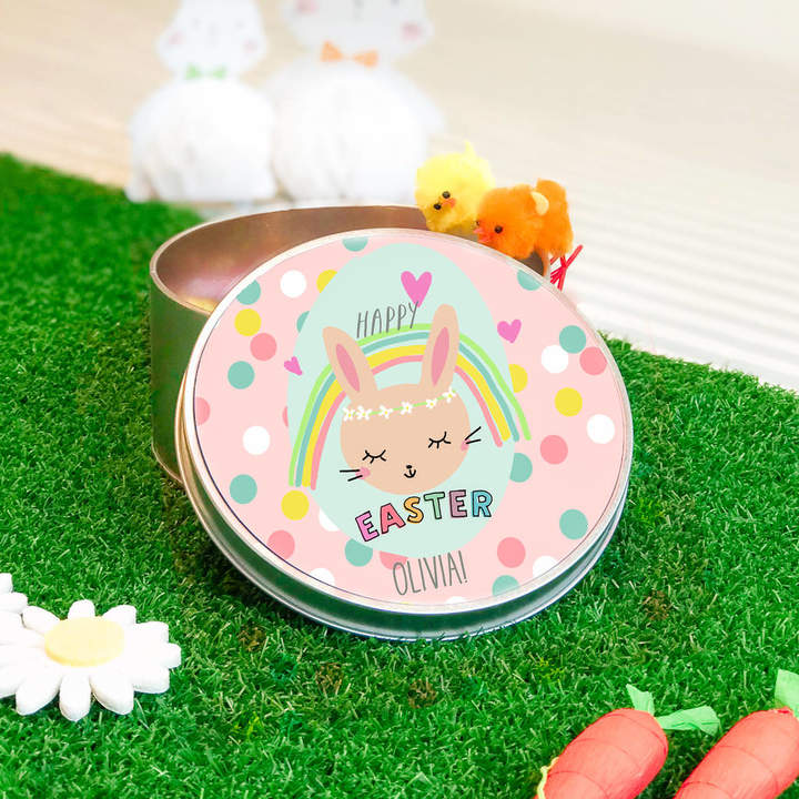 Lily Summery Personalised Easter Tin 'Rainbow Bunny'