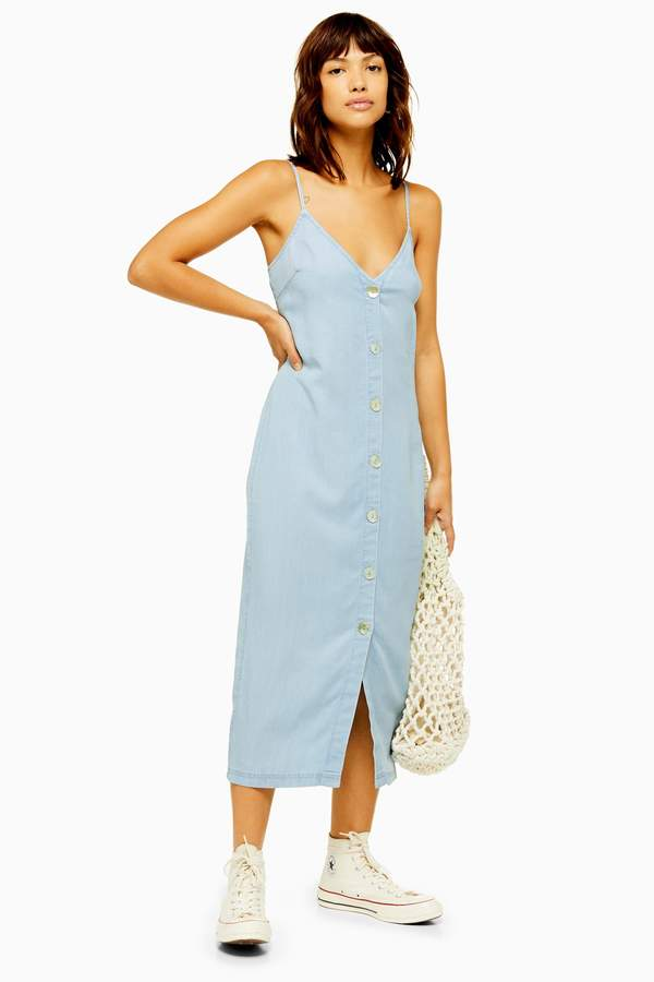 Topshop Womens Shell Button Slip Midi Dress - Bleach Stone