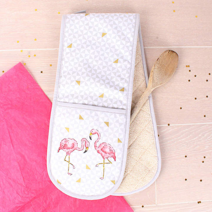 Milly Green Tropical Flamingo Double Oven Gloves