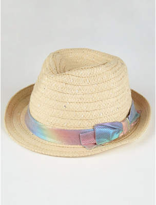 George Rainbow Bow Woven Trilby Hat