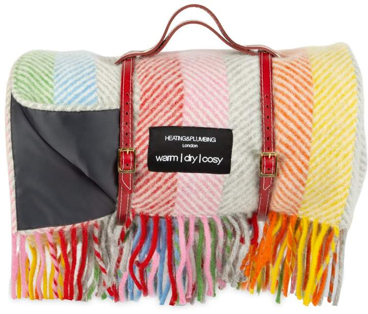 Heating & Plumbing London Pure New Wool Waterproof Picnic Blanket Rainbow