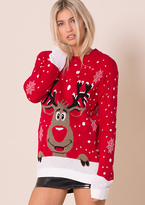 Red Rudolph Print Knitted Christmas Jumper