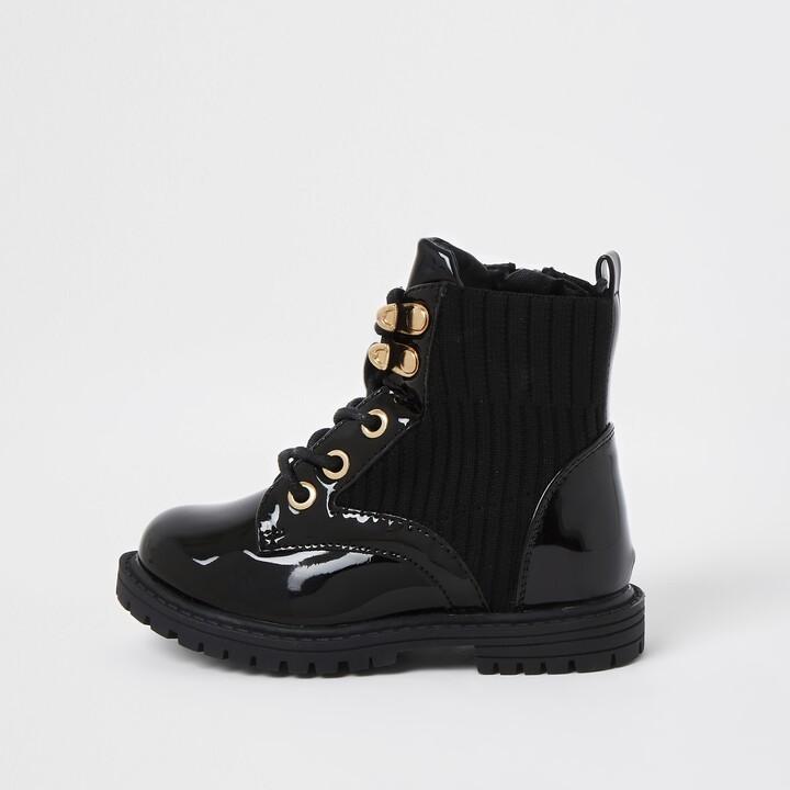 River Island Mini girls Black patent clumpy lace up boots