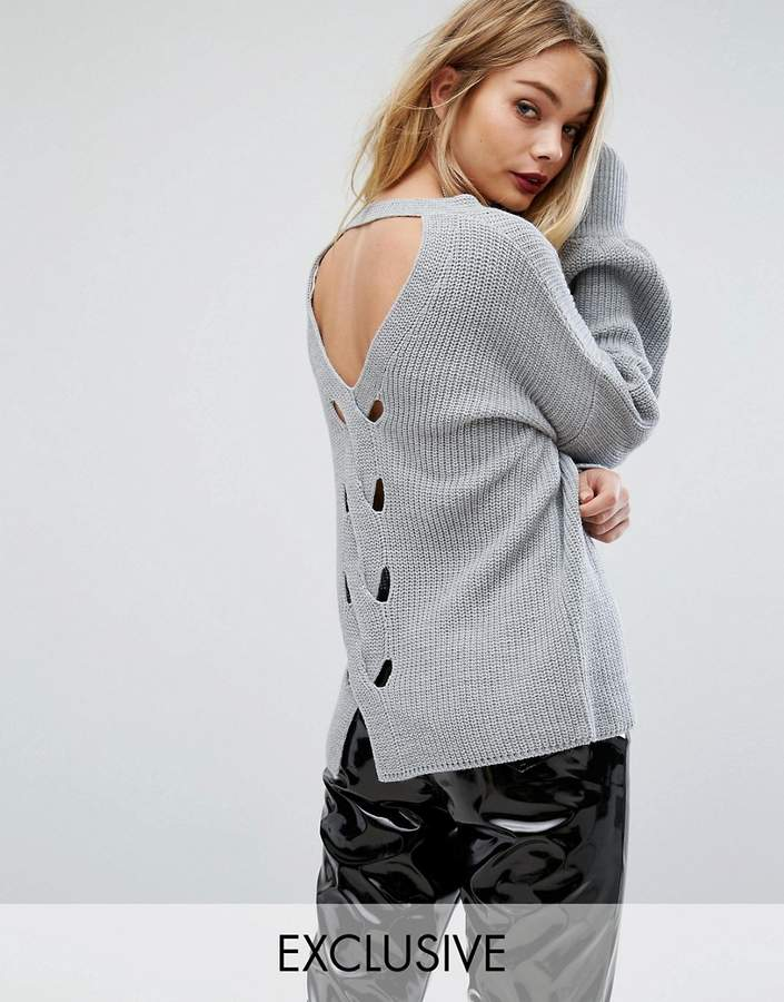 Miss Selfridge Exclusive Open Back Plait Detail Jumper
