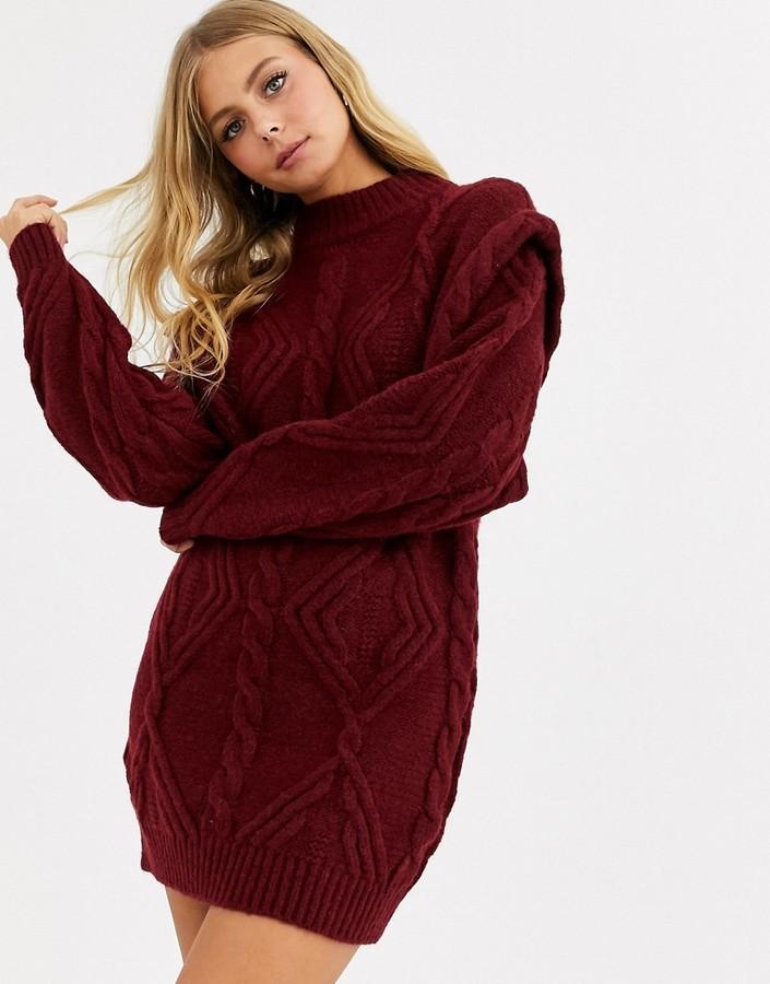 Asos Design ASOS DESIGN cable jumper dress with shoulder detail-Red