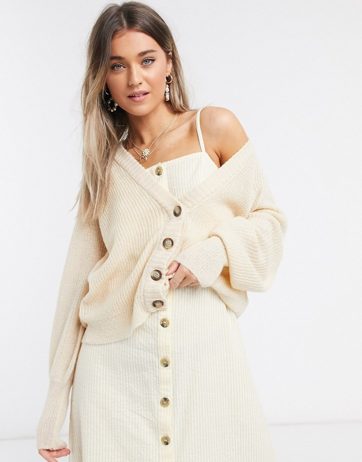 Brave Soul moreno cardigan with balloon sleeve