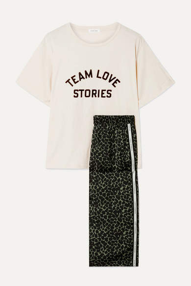 Love Stories - Embroidered Cotton-jersey And Leopard-print Satin Pajama Set - Cream