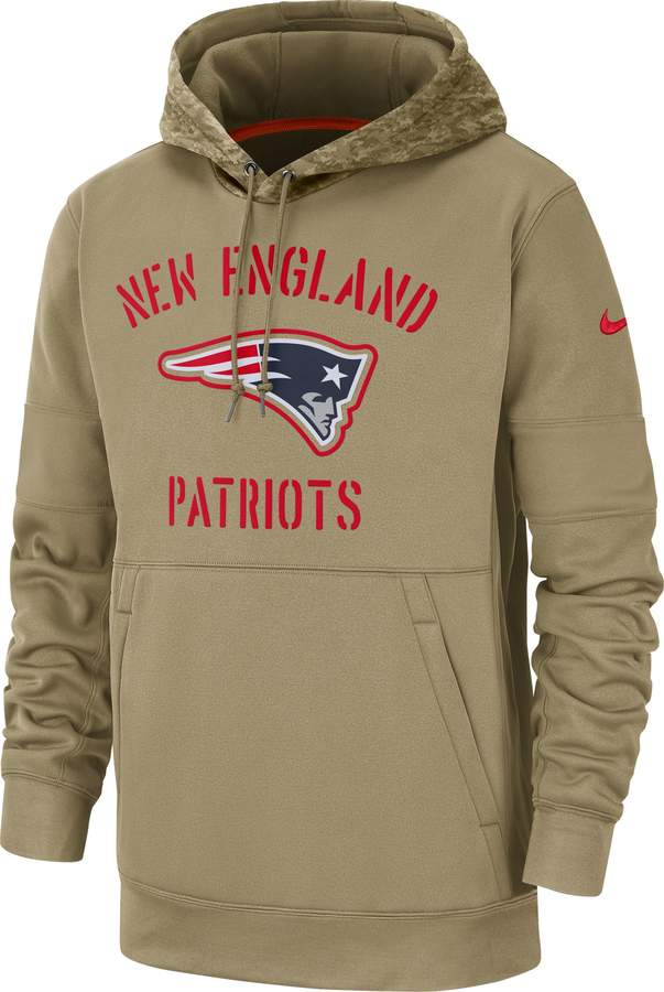Nike Men's Salute to Service New England Patriots Therma-FIT Beige Camo Hoodie
