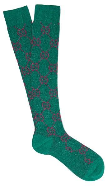 Gucci - GG-intarsia Metallic Cotton-blend Socks - Green Multi