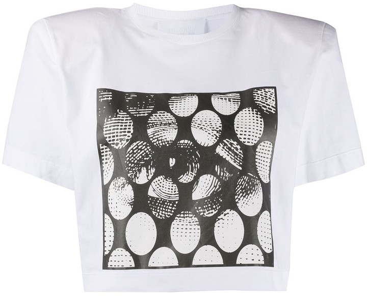 padded shoulder cropped T-shirt