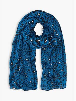 Mint Velvet Salma Leopard Print Scarf, Blue
