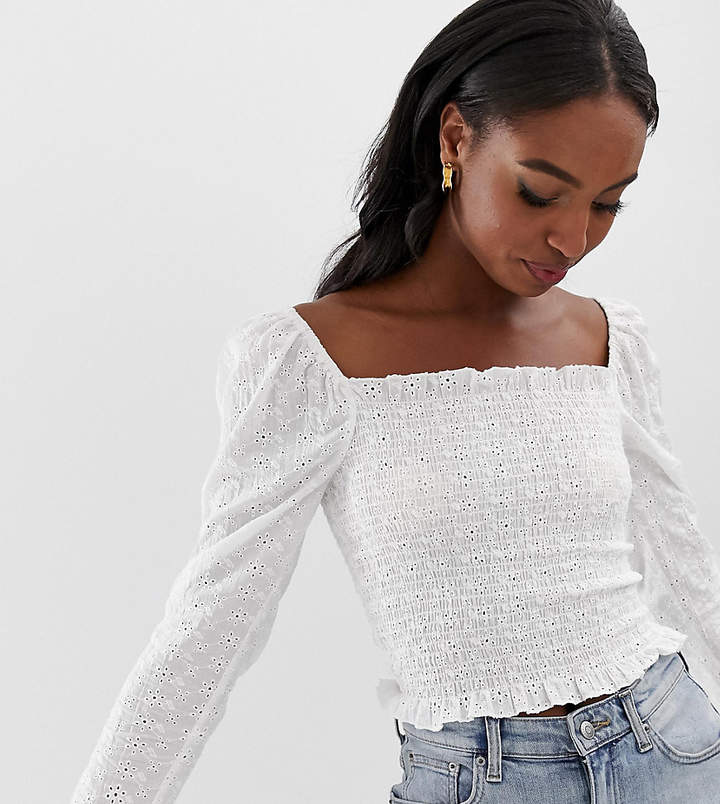 Asos Tall ASOS DESIGN Tall long sleeve square neck top in broderie with shirring-White