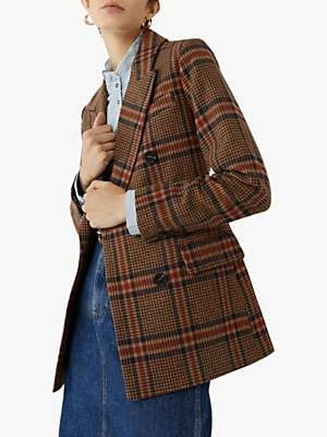 Warehouse Relaxed Check Blazer Coat, Multi