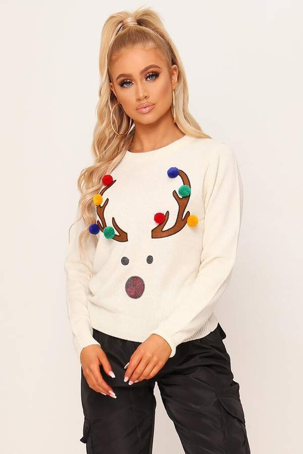 Isawitfirst Cream Christmas Reindeer Pom Pom Knitted Jumper