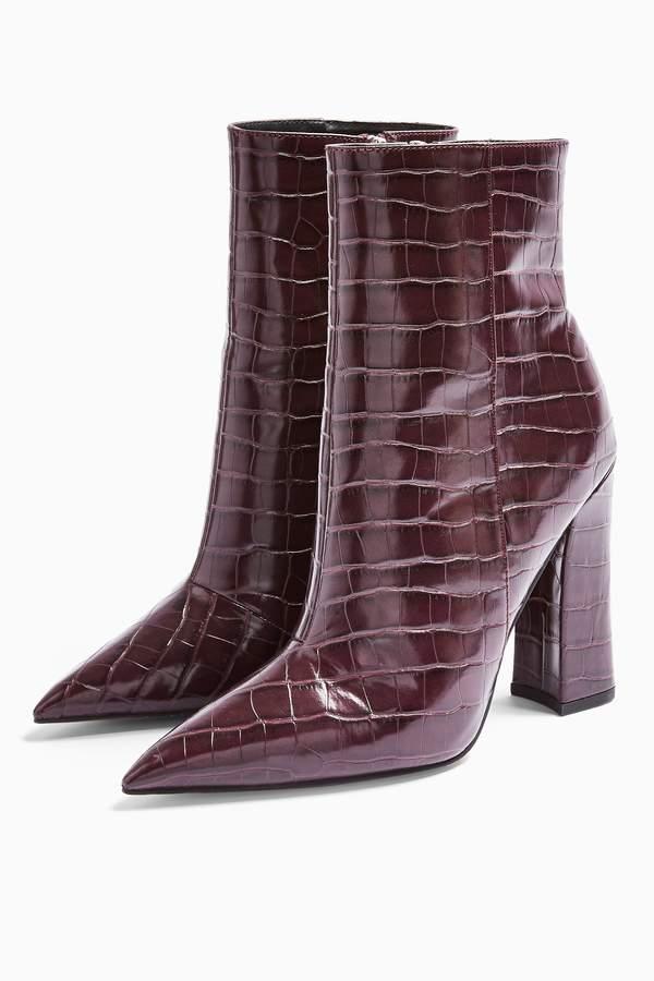 Topshop Womens Harri Burgundy Point Boots - Burgundy