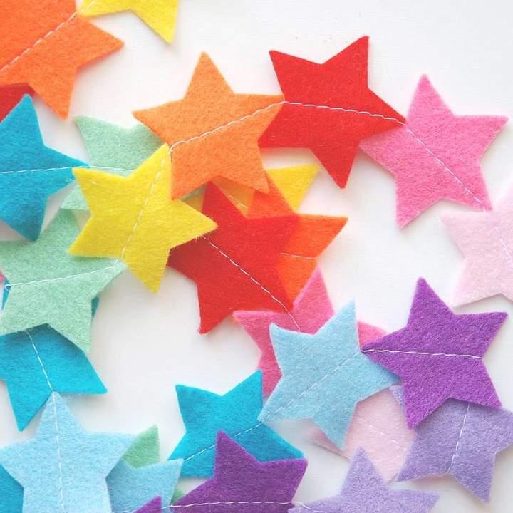 littlenestbox Rainbow Felt Star Nursery Garland