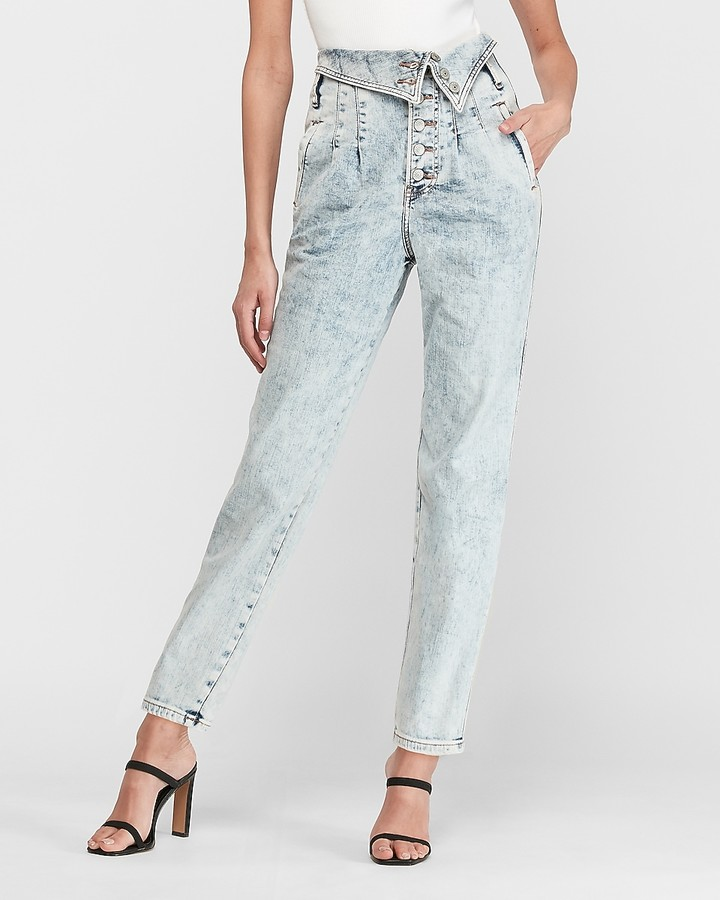 Super High Waisted Acid Wash Fold-Over Straight Jeans