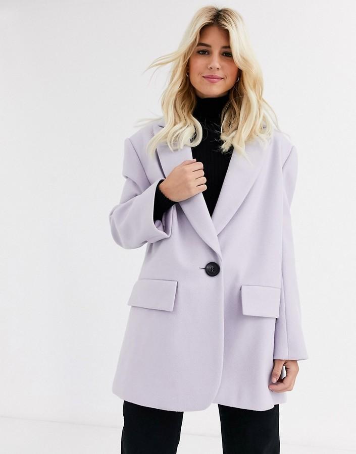 ASOS DESIGN grandad coat in lilac