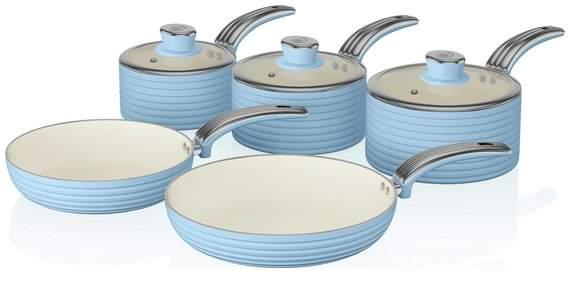 Swan Retro 5 Piece Pan Set - Blue