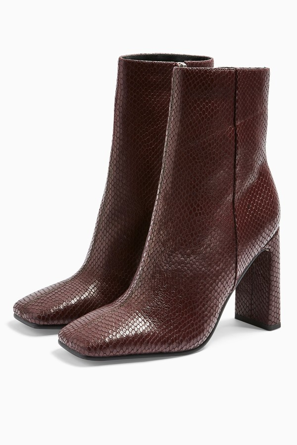 Womens Halia Leather Burgundy Lizard Square Toe Boots - Burgundy