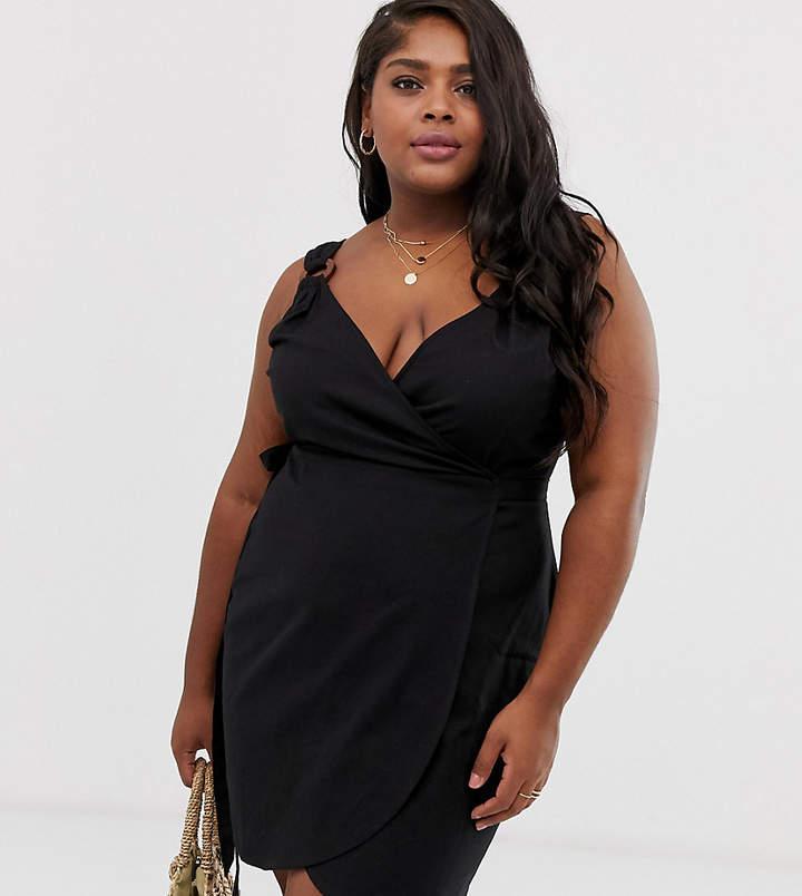 Asos Curve ASOS DESIGN Curve linen wrap mini sundress with wooden rings-Black