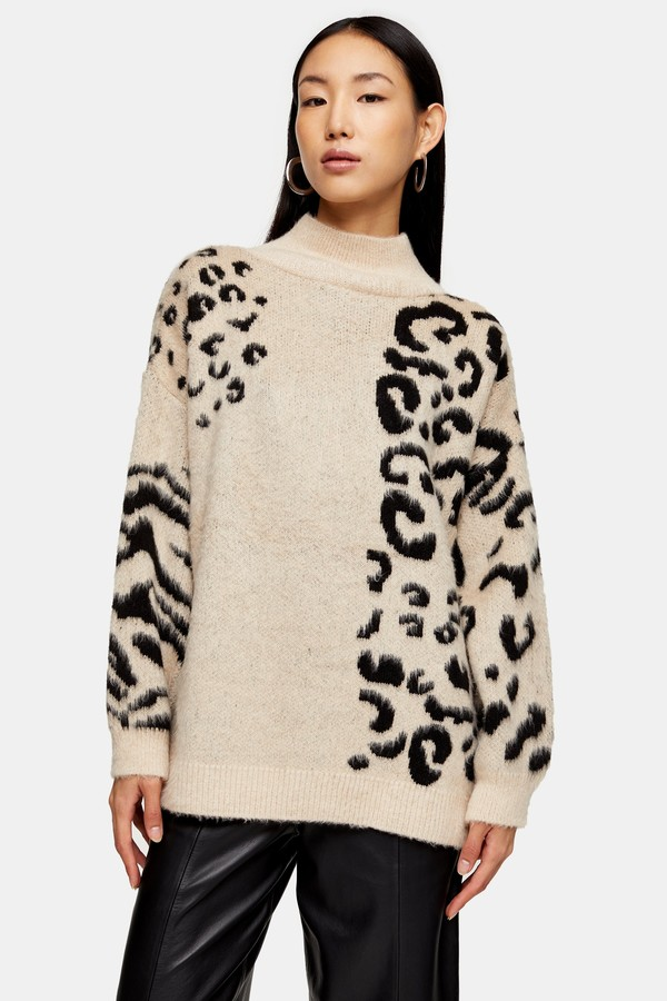 Womens Knitted Mixed Animal Print Jumper - Multi
