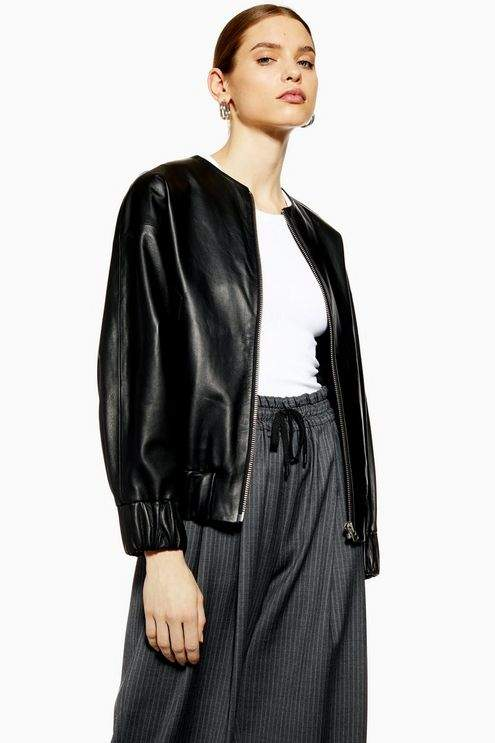 Topshop Womens **Leather Bomber Jacket By Boutique - Black