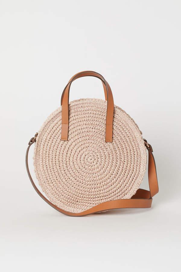 H&M - Round Paper Straw Handbag - Beige