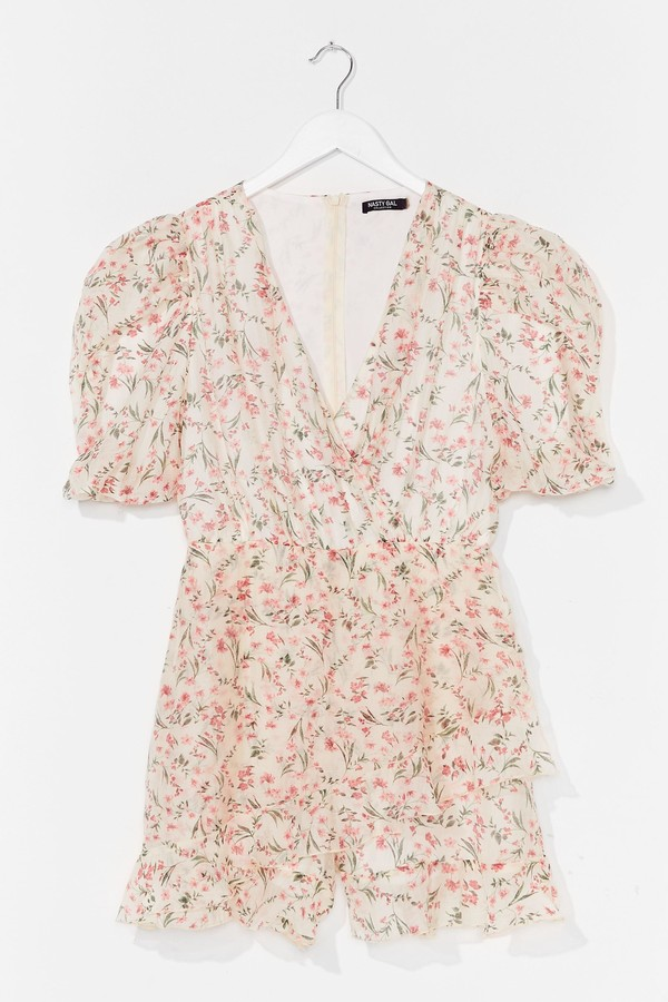 Womens Something to Puff Sleeve in Floral Playsuit - White - 6