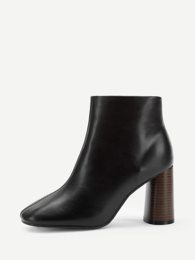 Shein Plain Zipper Side Block Heeled Boots