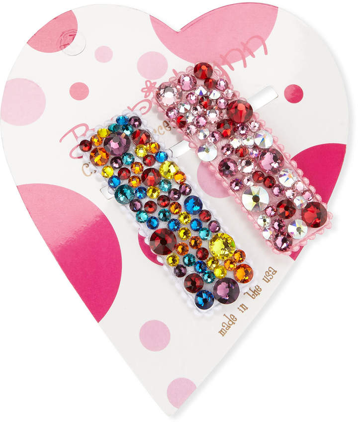 Bari Lynn Multi Rainbow Swarovski Crystal Hair Clip Set