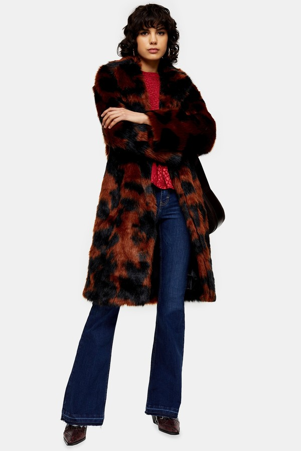 Topshop Womens Cow Print Faux Fur Coat - Multi
