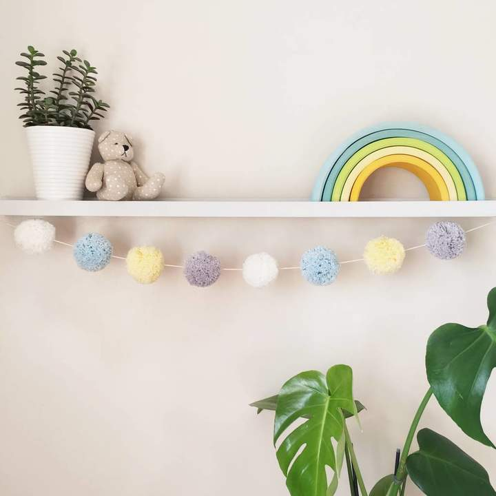 Pins and Needles Pastel Blue And Yellow Pom Pom Garland