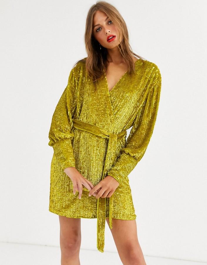 Asos Edition ASOS EDITION sequin wrap mini dress-Yellow