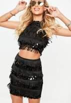 Tall Black Sequin Mini Skirt