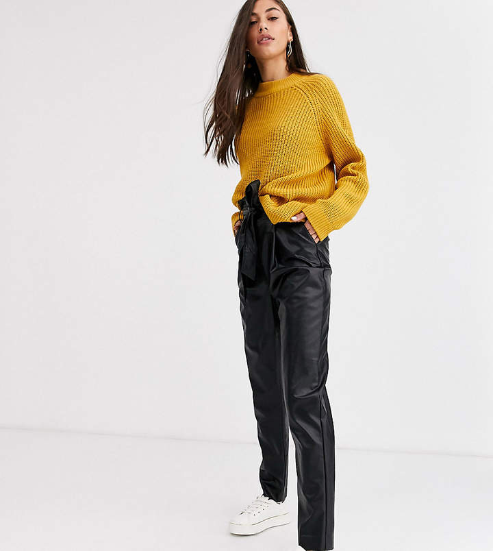New Look Tall tie waist leather look trousers in black