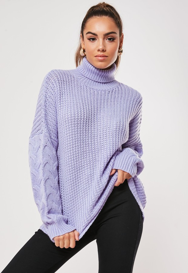 Missguided Lilac Cable Knit Sleeve Roll Neck Jumper