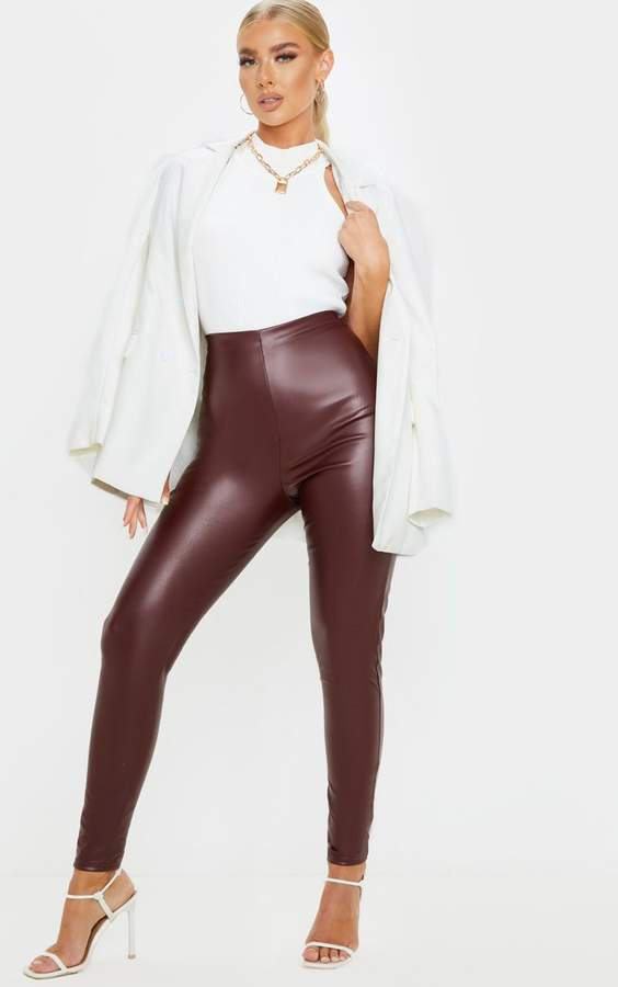 Burgundy Faux Leather High Waisted Legging