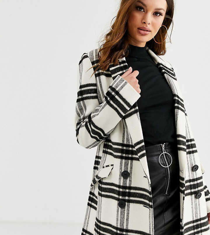 Asos Tall ASOS DESIGN Tall double breasted check coat-Multi