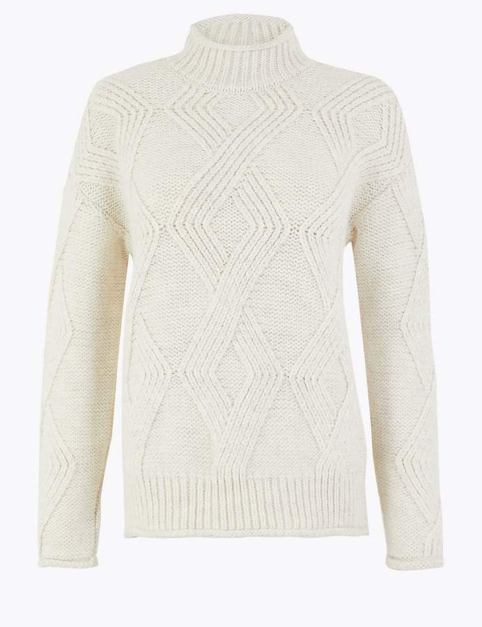 M&S CollectionMarks and Spencer Argyle Cable Knit Turtle Neck Jumper