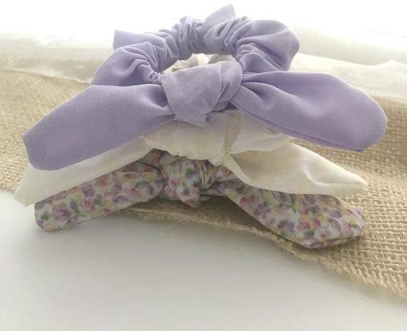 Spring Bow Scrunchies|Hair Ties|Floral Scrunchies|Pastel Scrunchies