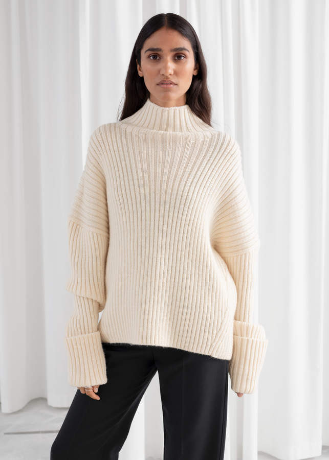 Slouchy Wool Blend Ribbed Turtleneck