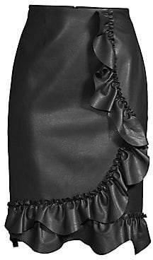 Rebecca Taylor Women's Faux-Leather Ruffle Skirt - Size 0