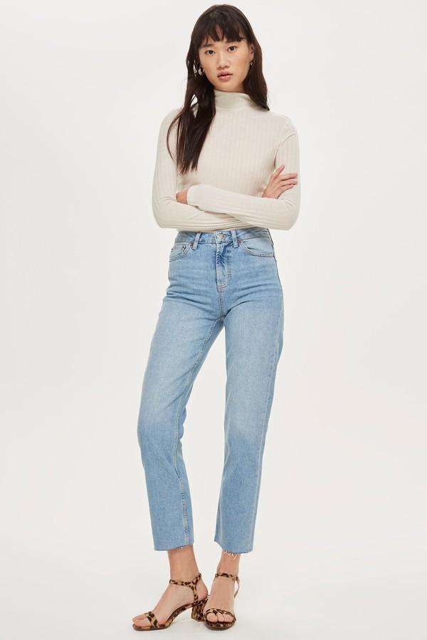 Womens Bleach Raw Hem Straight Leg Jeans - Bleach Stone