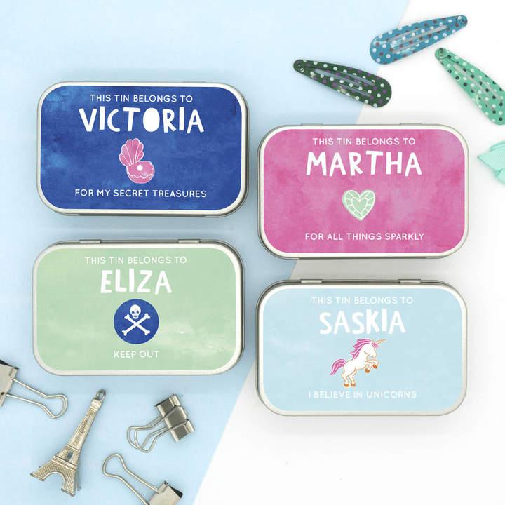 Cotton Twist Personalised Pastel Themed Keepsake Gift Tins