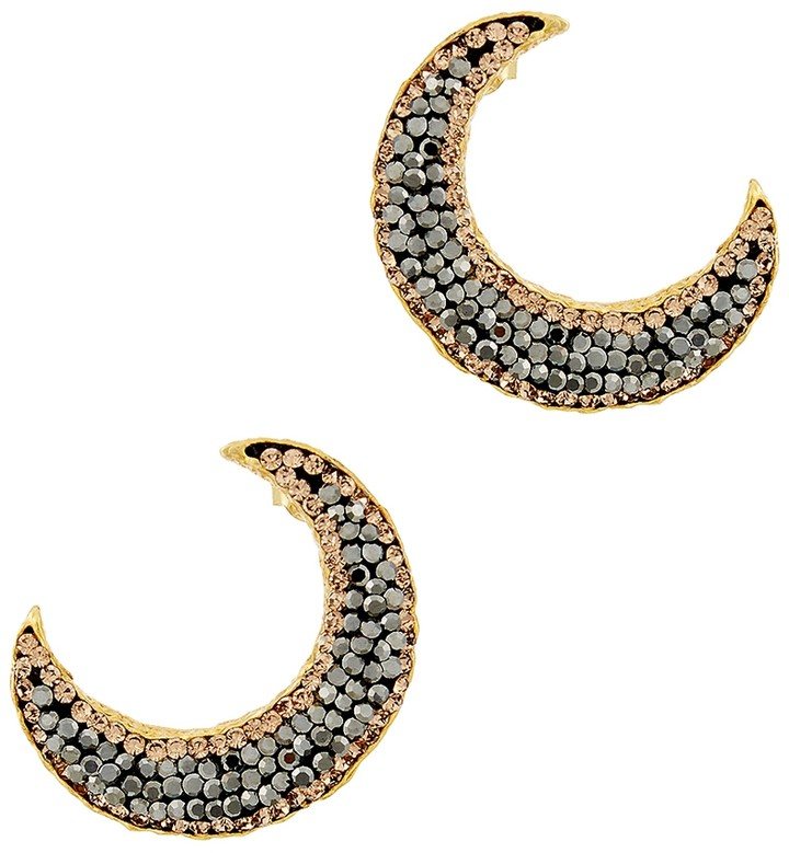 Soru Jewellery Notte Grey Crystal 18ct Gold-plated Moon Earrings