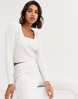 Asos Design ASOS DESIGN co-ord square neck jumper with woven detail-Cream