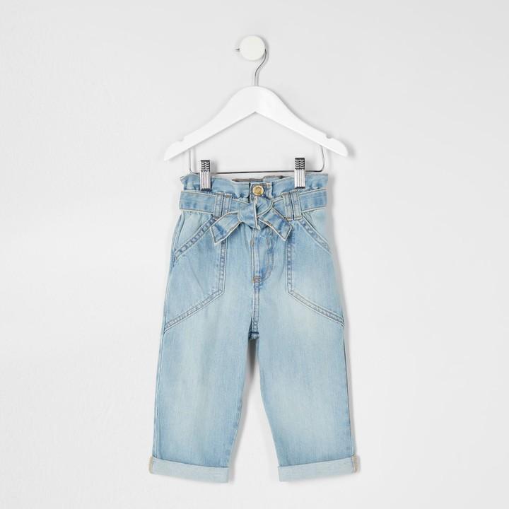 River Island Mini girls Blue paper bag jean
